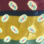 Velluto a righe in cotone e viscosa blu rosso oro verde