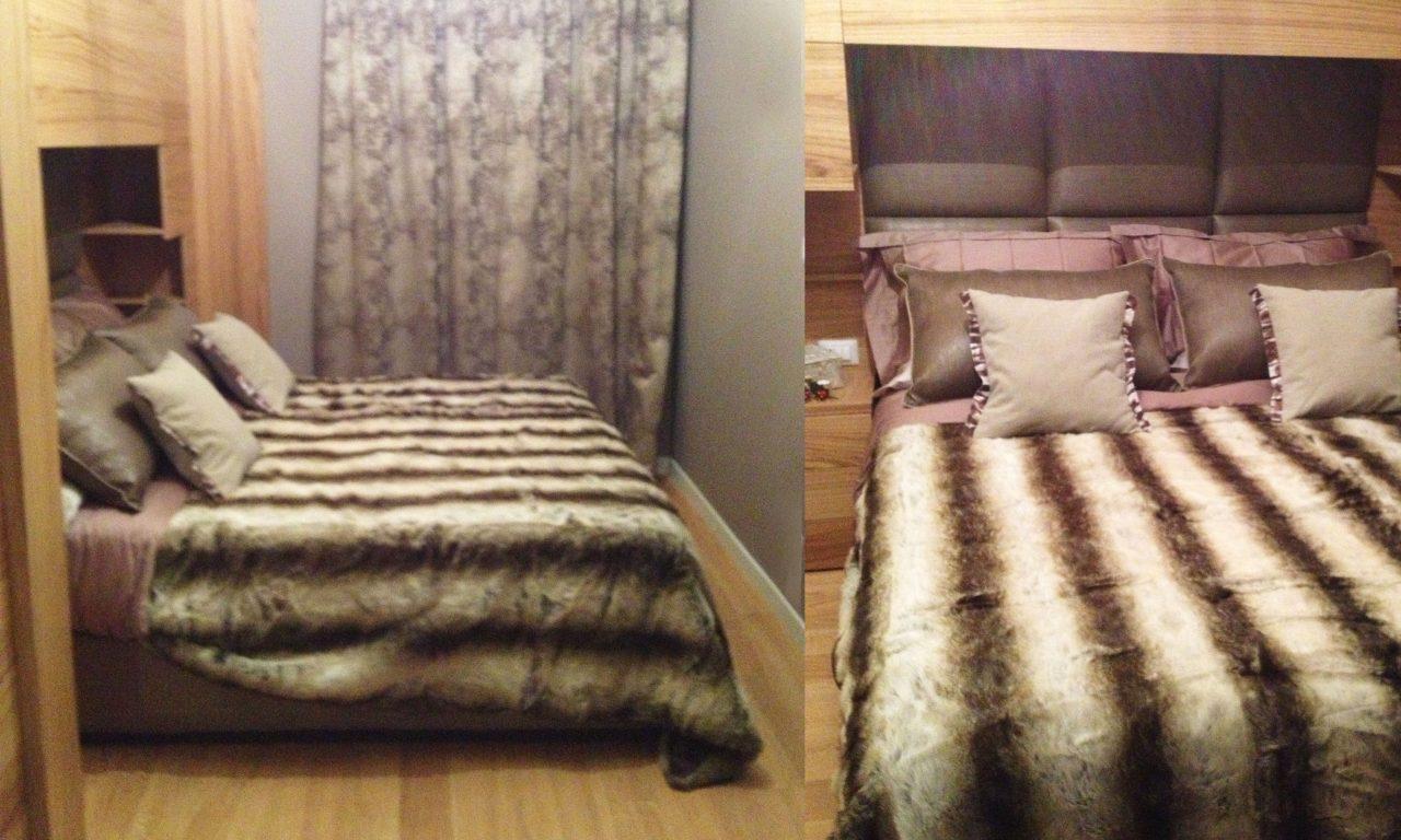 copriletto su misura eco pelliccia passamaneria e raso per casa in montagna