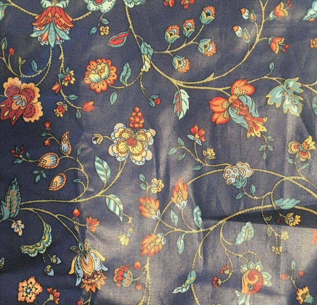 tessuto a fiori blu in cotone cerato
